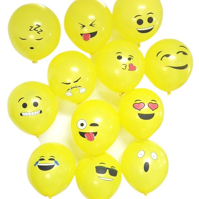 12 Inch Smiley Face Emoji Balloon 100 Pcs Happy Birthday Decoration Inflatable Balls Wedding Party Balloons