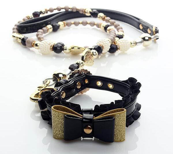 1 pz cani gatti di modo di bowknot del collare di perle set di piombo supplies doggy collari guinzaglio dellanimale domestico del cane prodotti per animali domestici accessori S M L
