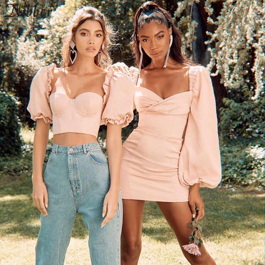 Nibber フランスのロマンチックなエレガンスピンク低カット作物トップス女性 T-shirts2019summer オフィスの女性のファッションパーティースリム tシャツファム