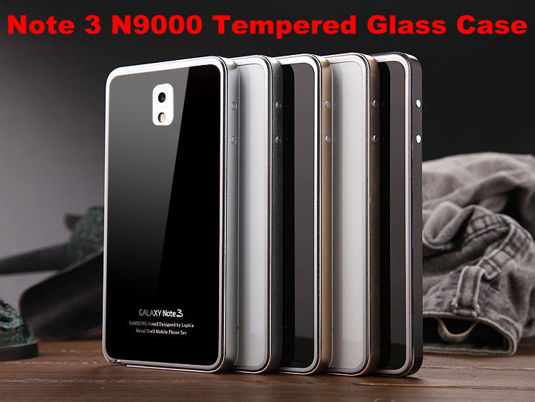 sale retailer b18aa f178d US $19.5 |Best Quality Tempered Glass Plate+Metal Edge Battery Back Cover  Mirror Skin For Samsung Galaxy Note 3 III N9000 Freeshipping on ...