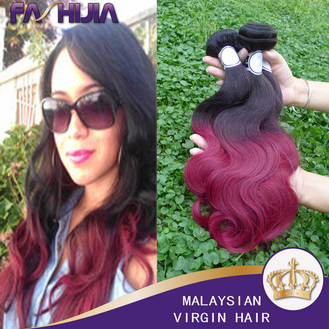 Fashijia Hair Product Malaysian Body Wave 3pcs Lot Ombre Burgundy
