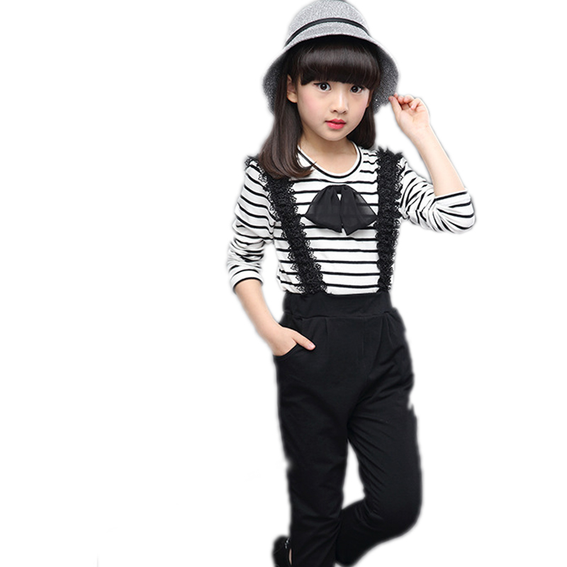 2017 spring children clothing bow striped long-sleeved shirt + lace overalls pants 2pcs girls clothing sets big girls tracksuits 2016 new children s clothing boys long sleeved t shirt large child bottoming shirt spring striped shirt tide