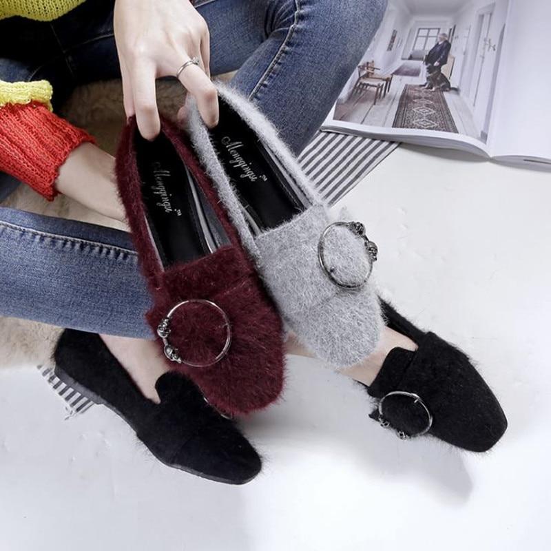 Suède Hiver Chaussures Mode 2 Carré 2018 Casual Tête 666 Appartements Confortable Automne De Femmes Marée qCnwSPx4