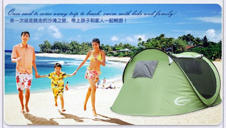 Ouvrez rapidement les tentes de pop-up portatives pour la tente de plage de tente rapide uv de plage 4 personnes