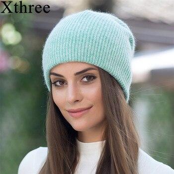 цена на Xthree new simple Rabbit fur Beanie Hat for Women Winter hat for children Skullies Warm Gravity Falls Cap Gorros Female Cap