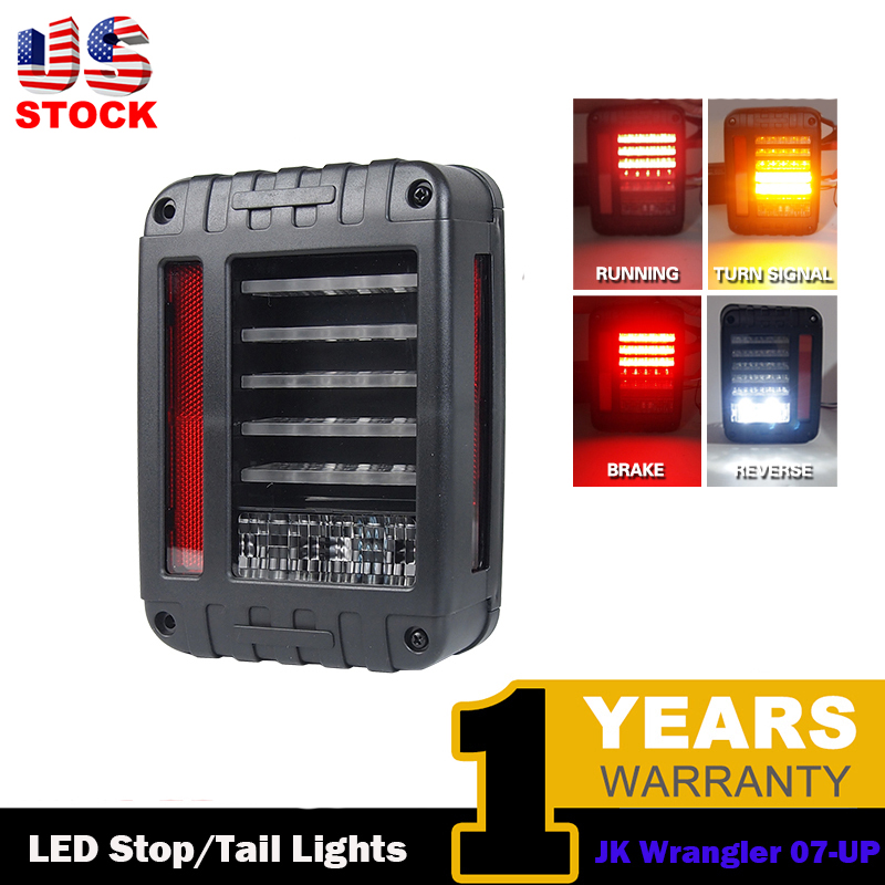 ФОТО USA LED off road Reverse Brake Tail Lights With US Standard Plugs Car Light Replacement Light For 07-16 For JEEP JK WRANGLER