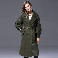 women winter coat 2018plus size winter coats ladies army green emboridery double breast fashion brand outwear jackets warm coat