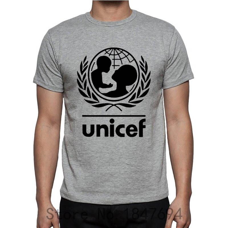 Unicef World Society T shirts Summer Slim Fit 100% Cotton Short Sleeve Man Tees Fashion Normal T-shirts