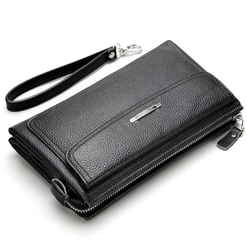 ФОТО Hot Sale! New 2016 Luxury Natural Cowhide Men Clutch Bag Brand Long Genuine Leather Men Wallets Business Clutch Bags Card Purse