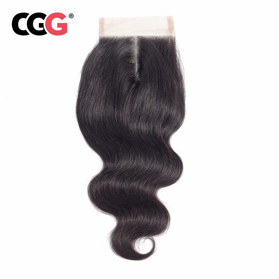 CGG Lace Closure Cgg-Hair 4x4 No-Smell Body-Wave Natural-Color 8-20inch Hair-free/middle/three-part