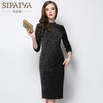 New   Scarlett Pearl Spring   European heavy beaded dress retro temperament palace slim package hip dress