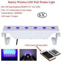 6 шт./лот 6x18 Вт RGBAW УФ 6IN1 Батарея питание Беспроводной DMX512 светодиодный шайбы стены свет для Светодиодный Вечерние диско бар Dj этап ночник