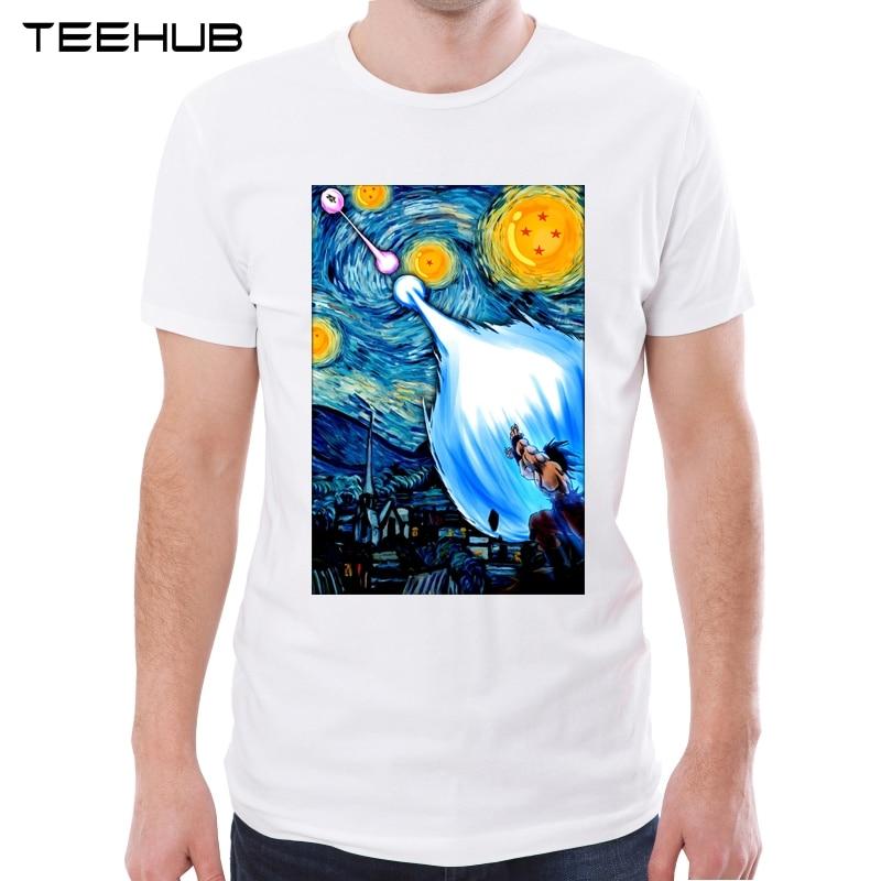 2019 Men's New Creative Super Saiyan Van Gogh Printed Short Sleeve T-Shirt Summer Fashion Cool Tops Novelty Dragon Ball Z Tee