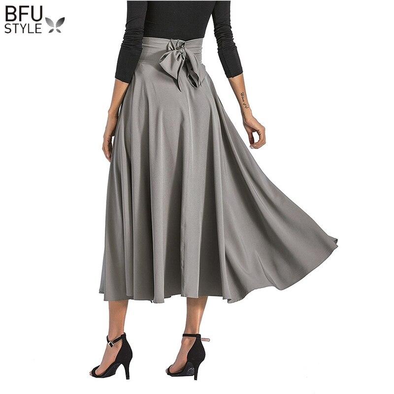 Women Bow Belt Midi Skirt Faldas Blue Working Skirts Vintage High Waist Solid Summer Europe Girls Skirt Saia 2018 Elegant Skirts