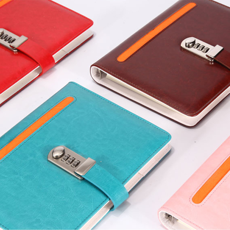 New Spiral Notebook paper Personal Diary with lock code Business leather Notepad 100 sheets stationery Office school supplies new personal diary with lock code spiral leather notebook business thick notepad customized office school supplies gift