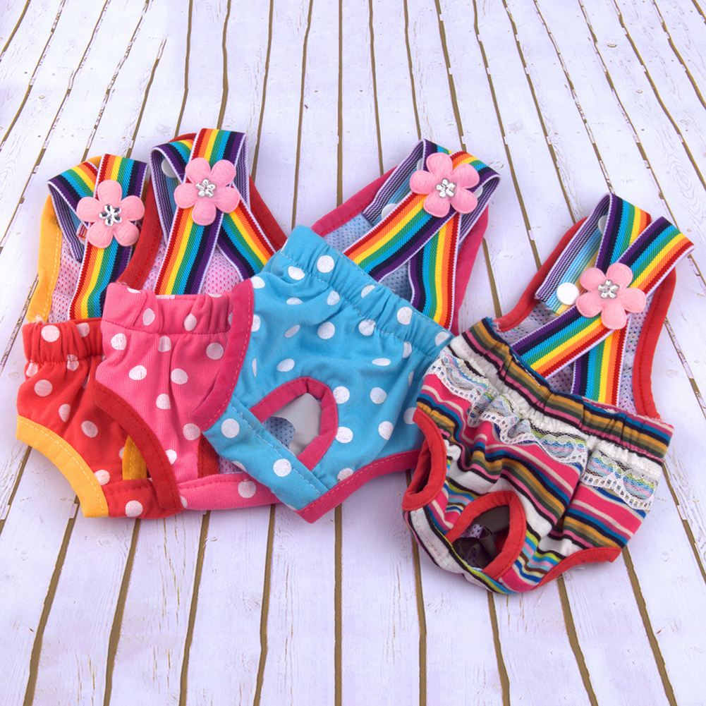 pet products TINGHAO Pet Physiological Pants Polka Dot Striped Female Dog Sanitary Panties Shorts Underwear Sanitary Diaper Wash in Dog Shorts from Home Garden