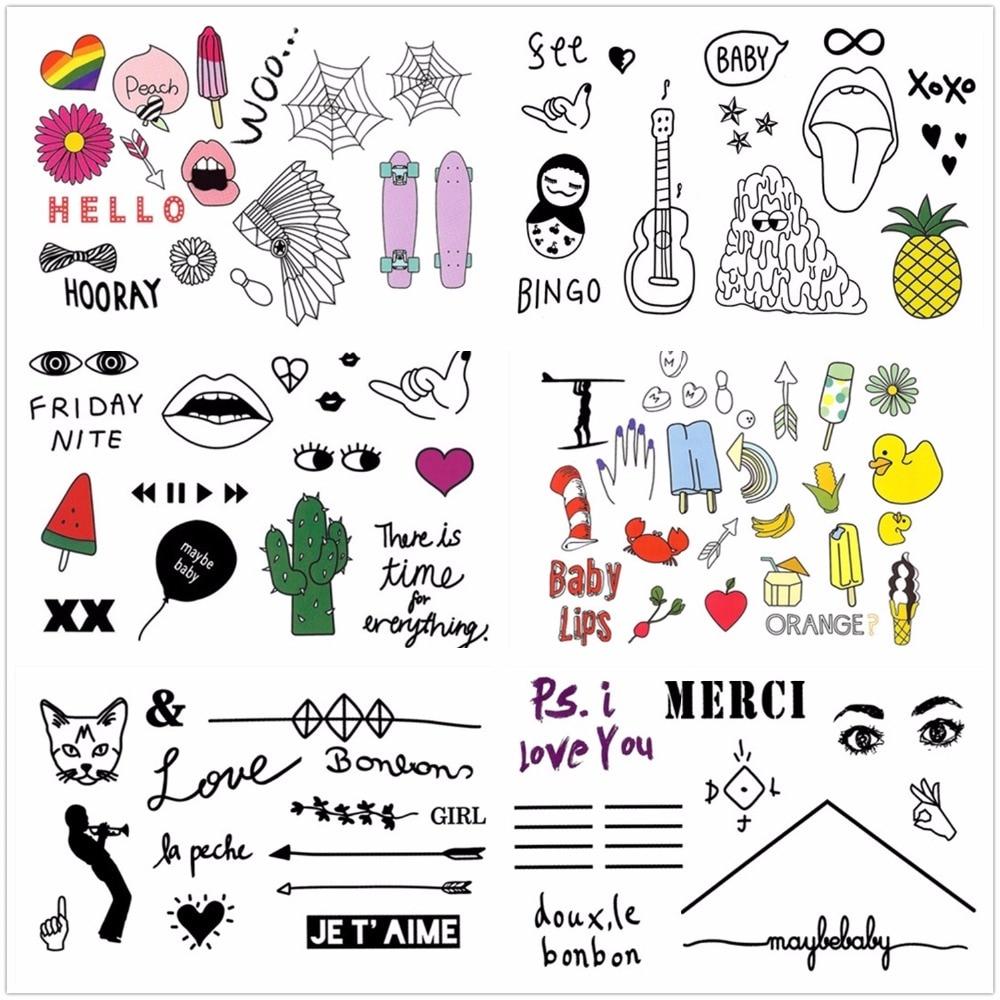 6 Sheets Wrist Body Art Henna Tattoo Stencil Flower: Cute Body Art Tattoo Sticker Temporary Tattoos 100