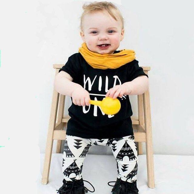 f0d91ab1c New baby boys girls summer clothes sets WILD ONE children T shirt + ...