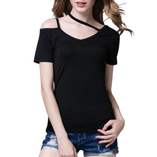Fashion Women Loose Pullover Short Sleeve V-neck Cotton Solid Causal Tops T-Shirt
