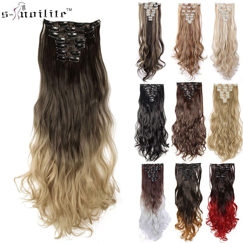 SNOILITE 24 zoll 8 teile/satz lockige 18 Clips in Falsche Haar Styling Synthetische Haar Extensions Haarteil Verlängerung haar für Menschliches