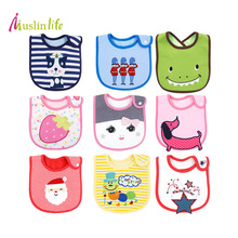 Muslinlife 3pcs/lot Cotton Baby Bibs,Infant Burp Cloths Feeding Baby Bibs Cute Cartoon Pattern Toddler Towel for 0-3y(China)