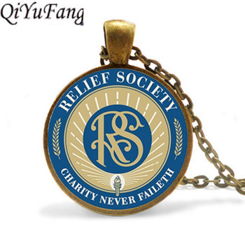 QiYuFang Relief Society Lds Mormons Pendant Necklace Jewelry Relief Society Symbol Chain Free Shipping Gift Men Necklaces Women image