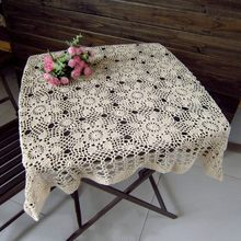 DIY Crochet Retro Square Dinning Table Cloth Hollow Out Weave Tea Coffee Table Cloth Home Decor Table Cover