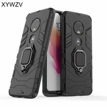 Motorola Moto G7 Durumda Darbeye Dayanıklı Kapak Sert PC Zırh Metal Parmak Yüzük Tutucu Telefon Motorola kılıfı Moto G7 Moto g7