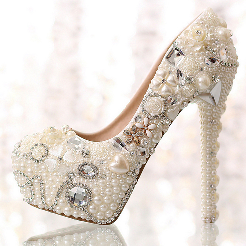 Women's 14 cm heel luxury beige ivory pearls rhinestone pumps bridal high heels platform wedding shoes