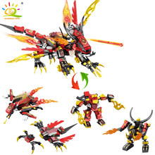 469pcs 4in1 Red Fire Dragon Building Block Compatible Ninja Kai Jay Figures Bricks Set Toy For Children Boys(China)