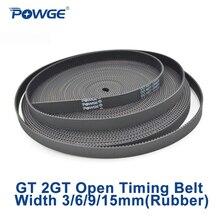 POWGE 2MGT 2M 2GT Open Synchronous Timing belt width 3/6/9/10/15mm Rubber Samll Backlash GT2 2GT-3/2GT-6/2GT-9/2GT-15 3D printer