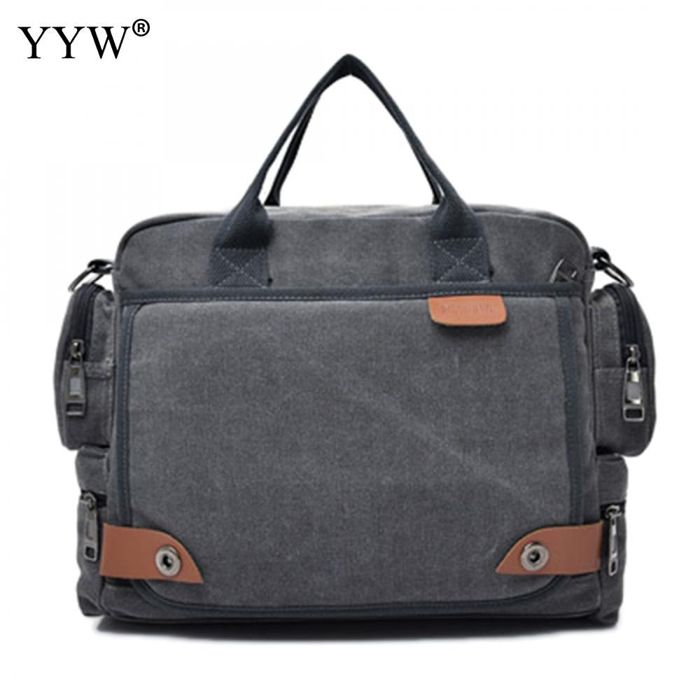 Gray Fashion Male Tote Bag Men's Executive Briefcase Black Laptop Bags For Men Khaki Canvas Handbag A Case For Documents