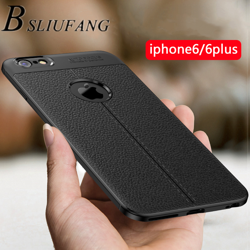 BSLIUFANG Luxury Shockproof Matte Cover For <font><b>iPhone</b></font> 6 7 8 Plus <font><b>6s</b></font> TPU <font><b>Leather</b></font> Soft <font><b>Case</b></font> For Phone <font><b>Case</b></font> <font><b>iPhone</b></font> X XR XS Max Cover image