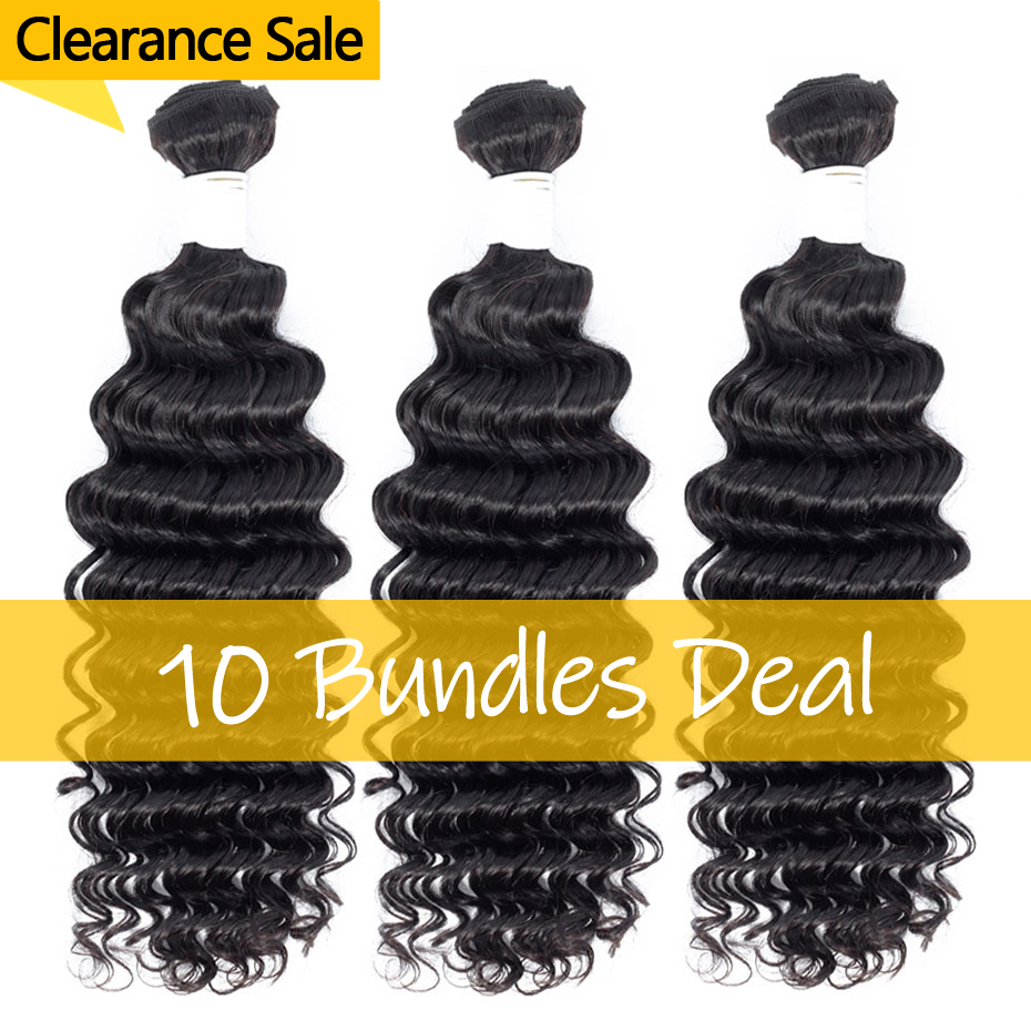 Brazilian Deep Wave Human Hair Weave 10 Bundles Deal Clearance Sale 100% Remy Hair Extensions Can Mix Any Length Free Shipping