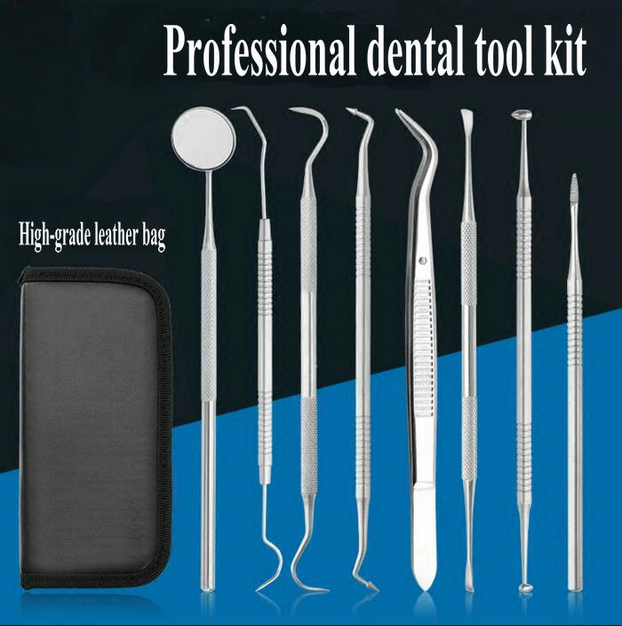8pcs/set Stainless steel dental tools suit household dental cleaning kits for remover Calculus cleanser dental plaque