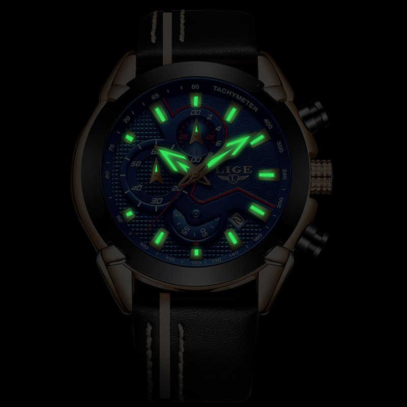 Reloje LIGE Marca Cronografo da Uomo Orologio Analogico Al Quarzo con Data, Le Mani Luminose, cinturino In Pelle impermeabile Wristswatch per L'uomo