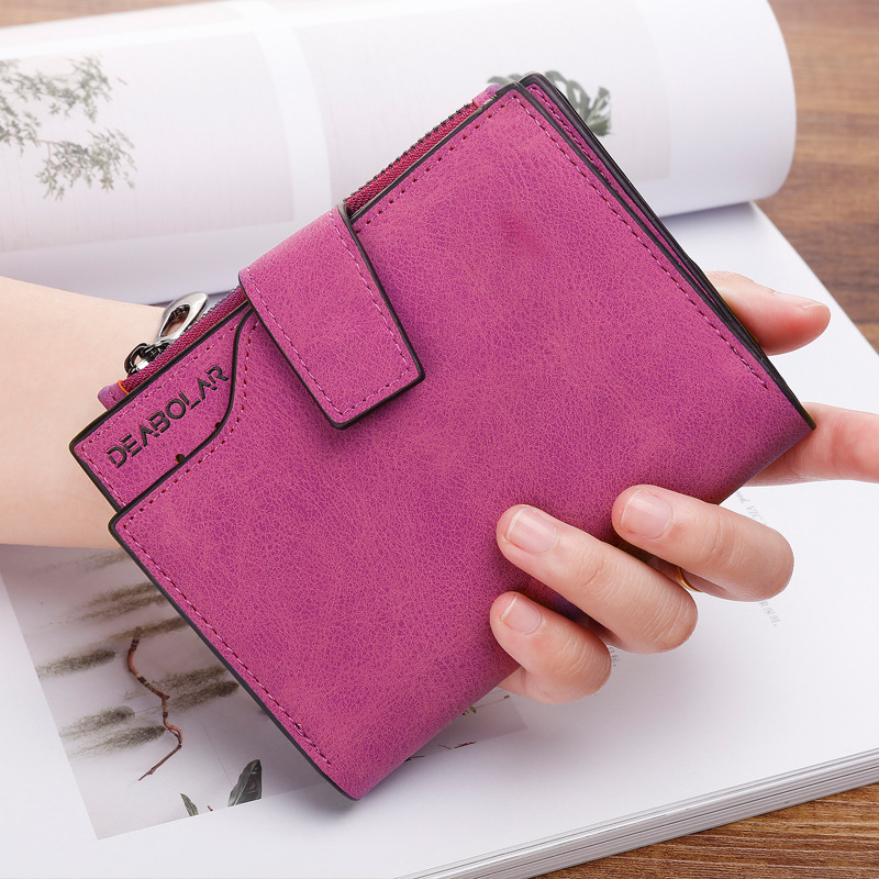 Fashion Small Female Purse Short Purse Lady Letter Snap Fastener Zipper Short Clutch Wallet Solid Vintage Matte Women Wallet