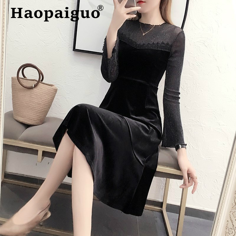 M XXXXL Plus Size Black Velvet Dress Women Stand Fashion Party Night Dress Women Midi Solid Bandage Dresses Vestidos Verano 2019