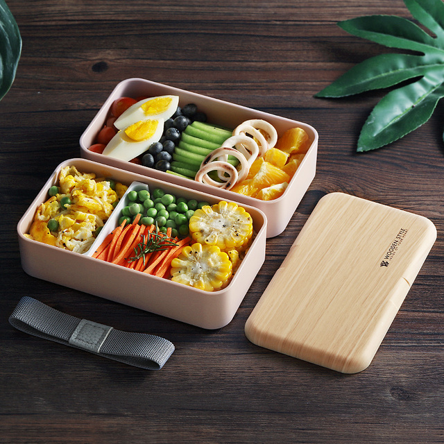 2 Layer Microwave Lunch Box Japanese Wood Bento Box for Kids Food Container Storage Portable School Picnic With Lunch Bag 1200ml 3