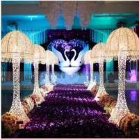 New Wedding Decor Centerpieces led Light Up jellyfish Roman Column Road Leads for Party Decoration Props