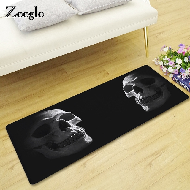 Tapis de sol de la chambre à coucher | Paillasson à côté de la flanelle, tapis de cuisine, tapis dhalloween pour crâne, tapis de porte en microfibre doux et humoristique