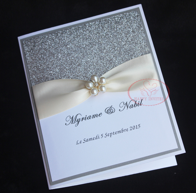 Hi1092 Elegant White Wedding Invitation Card With Silver Glitter