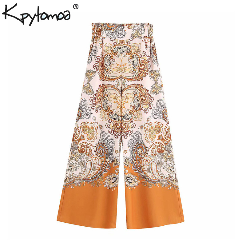Vintage Chic Floral Print   Wide     Leg     Pants   Women 2019 Fashion High Waist Pockets Loose Ladies Trousers Casual Pantalones Femme