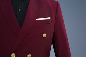 Image 3 - PYJTRL ブランドワイン赤新郎タキシードウェディング歌手スーツダブルブレストスリムフィットスーツウエディングドレスファッションカジュアルスーツ男性