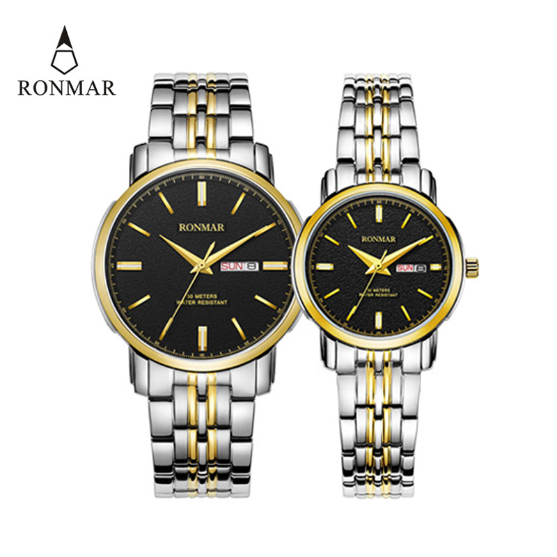 Couple Watch Quartz's  Watch Double Calendar Date Waterproof Lovers'  Women Men Stainless Steel Strap Business RONMAR 8007G