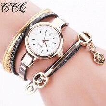 CCQ Style Girls Bracelet Gold Quartz Reward Watch Wristwatch Girls Costume Leather-based Informal Bracelet Watches Relogio Feminino C68