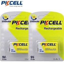 2 حزمة/2 قطعة PKCELL ni mh 9 فولت بطارية 250mAh بطارية قابلة للشحن ل ترمومتر إلكتروني