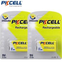 2Pack/2Pcs PKCELL Ni MH 9V סוללה 250mAh נטענת סוללה עבור אלקטרוני מדחום