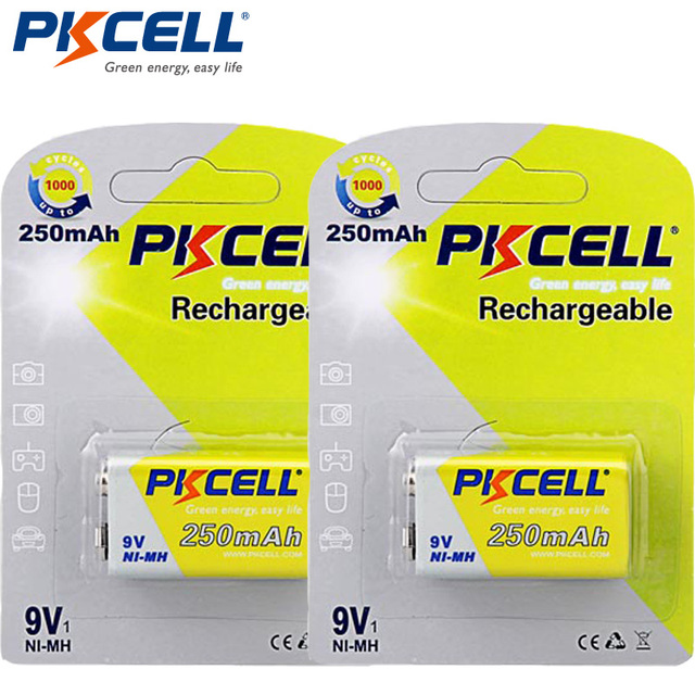 2Pack/2Pcs PKCELL Ni MH 9V Battery 250mAh Rechargeable Battery for electronic thermometer
