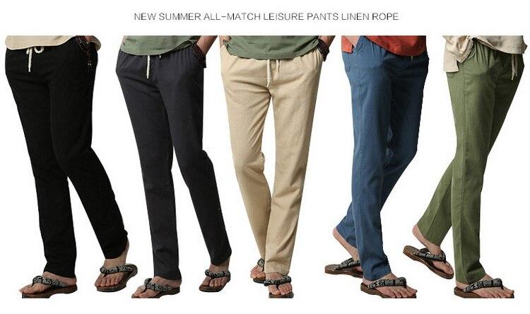 5XL Anti-Microbial Healthy Linen Pants Men 2019 Summer Breathable Slim Flax Trousers Male Boys Hemp Cotton Casual Pants,BM001